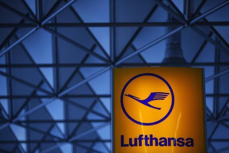 The logo of German air carrier Lufthansa is pictured at Fraport airport in Frankfurt May 6, 2013. REUTERS/Lisi Niesner