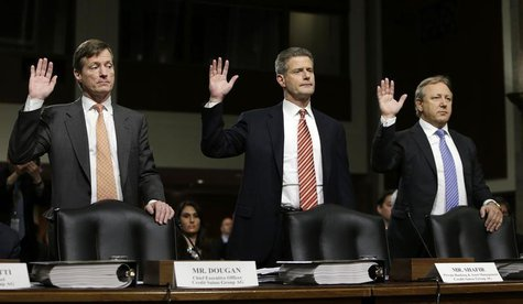 (L-R) Credit Suisse officials CEO Brady Dougan, Robert Shafir and Hans Urlich-Mesiter are sworn in before the Senate Homeland and Government