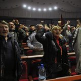 Pro-Russian activists cheers during voting in the regional government building in Donetsk April 7, 2014. REUTERS/Mikhail Maslovsky