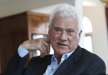 Austro-Canadian businessman and billionaire Frank Stronach gestures during an interview with Reuters in the village of Oberwaltersdorf April