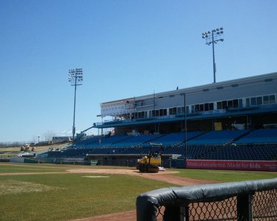 Repairs being made to Fifth Third Ballpark on Apr. 2, 2014 after a January fire.