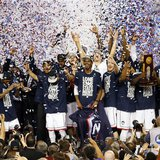 Apr 7, 2014; Arlington, TX, USA; The Connecticut Huskies celebrate winning the championship game of the Final Four in the 2014 NCAA Mens Div