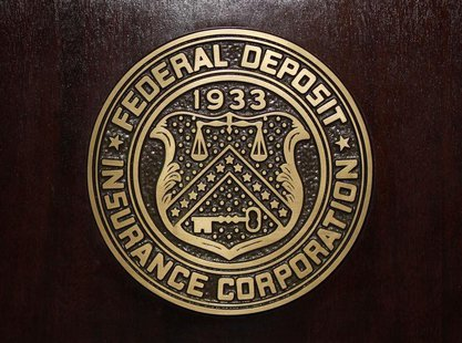 The Federal Deposit Insurance Corp (FDIC) logo is seen at the FDIC headquarters as Chairman Sheila Bair announces the bank and thrift indust