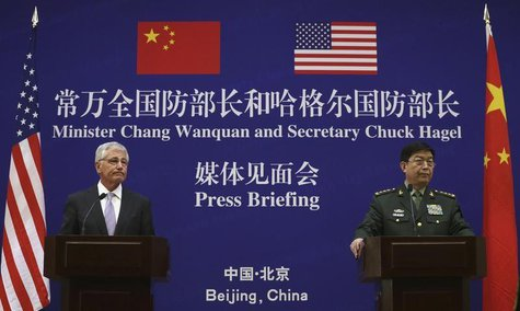 U.S. Secretary of Defense Chuck Hagel (L) and Chinese Minister of Defense Chang Wanquan participate in a joint news conference at the Chines