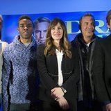 (From L to R) Cast members Terry Crews, Chadwick Boseman, Jennifer Garner, Kevin Costner and Denis Leary pose at a news conference for the f
