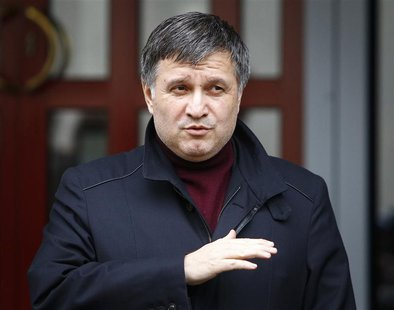 Ukraine's Interior Minister Arsen Avakov speaks during a news conference in front of the ministry office in Kiev, April 8, 2014. REUTERS/Sha