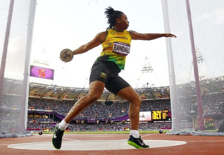 Jamaica's Allison Randall competes during her women's discus throw Group A qualification at the London 2012 Olympic Games at the Olympic Sta