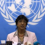 U.N. High Commissioner for Human Rights Navi Pillay addresses a news conference at the U.N. Integrated Peacebuilding Office in the Central A