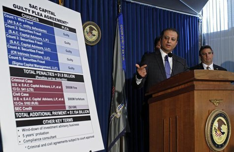 Manhattan U.S. Attorney Preet Bharara speaks during a news conference regarding an agreement reached with the SAC Capital Advisors in New Yo