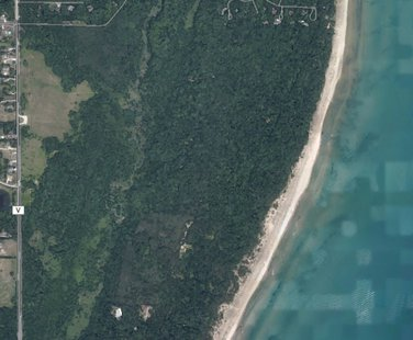 An aerial view of the land owned by Kohler Co. along Lake Michigan in the Town of Wilson that is proposed to be the site of a new golf course.