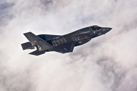 A Lockheed Martin F-35B Lightning II joint strike fighter flies toward its new home at Eglin Air Force Base, Florida in this U.S. Air Force