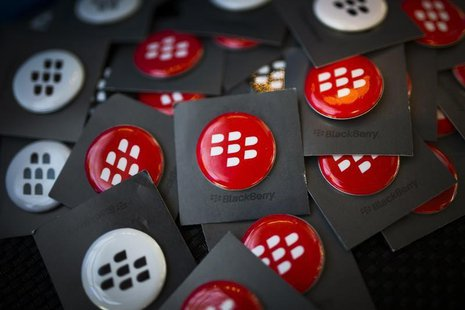 Blackberry pins are seen at the Fairfax Holdings annual general meeting for shareholders in Toronto, April 9, 2014. REUTERS/Mark Blinch