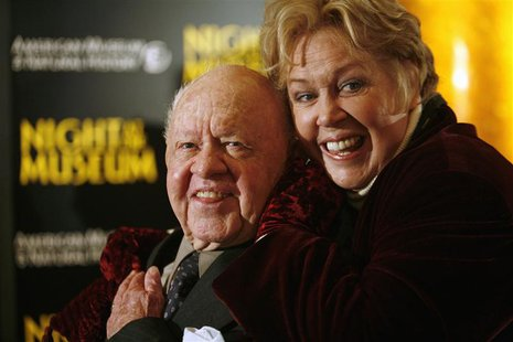 "Actor Mickey Rooney (L) and his wife Janice arrive at the American Museum of Natural History for the premiere of the movie ""Night at the Mus"
