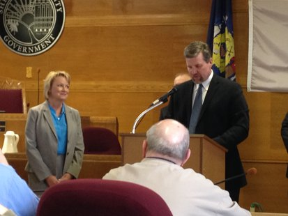 Peggy Feider is recognized by Sheboygan County Administrator Adam Payne for her six years as a supervisor.