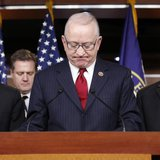 "U.S. House Armed Services Committee Chairman Rep. Buck McKeon (R-CA) (2nd R) pauses during his remarks at a news conference on how ""sequestr"