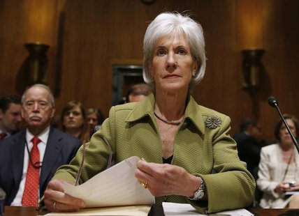 U.S. Secretary of Health and Human Services Kathleen Sebelius prepares prior to testifying before the Senate Finance Committee hearing on th