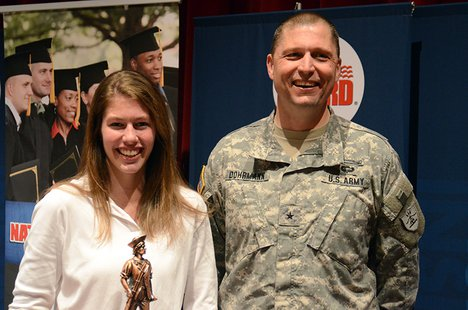 Fargo Shanley student Alivia Fraase receives the 2014 Inspiration Award from the North Dakota National Guard and USA Today.  (Photo courtesy U.S. Army National Guard)