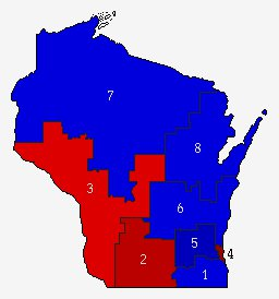 Wisconsin Congressional Districts.  Image: US Elections Atlas