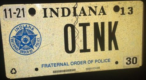 """OINK"" plate from Vawters Facebook page"