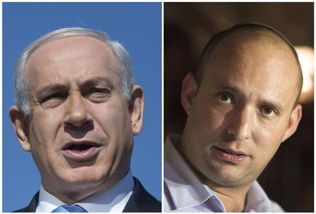 A combination photo shows Israel's Prime Minister Benjamin Netanyahu in Jerusalem on January 21, 2013 and Naftali Bennett (R), leader of the
