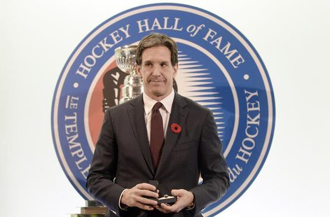 Former Devils player Brendan Shanahan poses for a picture after being inducted into the Hockey Hall of Fame in Toronto, November 8, 2013. RE