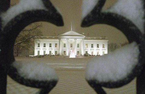 A view of the White House as snow begins to fall in Washington, February 9, 2010. REUTERS/Larry Downing.