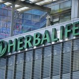 The Herbalife logo is seen on a building housing some of their offices in downtown Los Angeles, California April 28, 2013. REUTERS/Lucy Nich