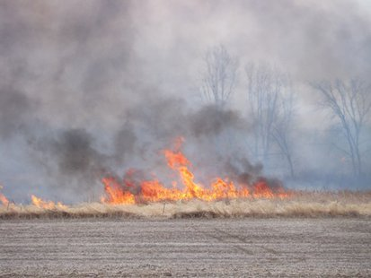 A wildfire occuring in southwest Fond du Lac County April 11, 2014.