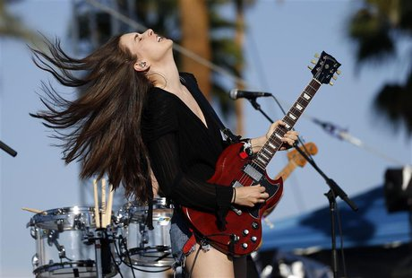 Danielle Haim of rock band Haim performs at the Coachella Music Festival in Indio, California April 11, 2014. A slew of rising artists and b