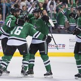 Apr 11, 2014; Dallas, TX, USA; Dallas Stars defenseman Trevor Daley (6) and left wing Ryan Garbutt (16) and defenseman Alex Goligoski (33) a
