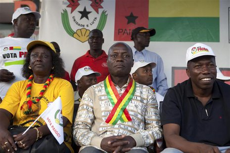 Presidential candidate Jose Mario Vaz attends a campaign rally in Bissau, Guinea-Bissau, April 11, 2014. Guinea-Bissau is holding a presiden