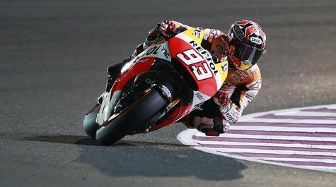 Honda MotoGP rider Marc Marquez of Spain rides his bike during a free practice session at the MotoGP World Championship at the Losail Intern