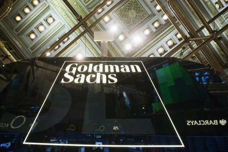 A Goldman Sachs sign is seen above the floor of the New York Stock Exchange shortly after the opening bell in the Manhattan borough of New Y