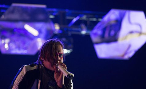 Lead vocalist Win Butler of rock band Arcade Fire performs at the Coachella Valley Music and Arts Festival in Indio, California April 13, 20