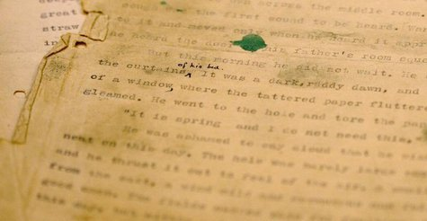 "A close-up view shows the first page of the original typed and edited manuscript of Pearl S. Buck's Pulitzer prize winning novel ""The Good E"