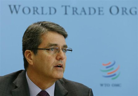 World Trade Organization (WTO) Director-General Roberto Azevedo attends a news conference on world trade in 2013 and prospect for 2014 in Ge