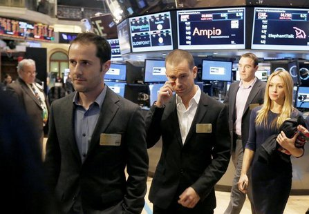 Twitter co-founders Evan Williams (L) and Jack Dorsey (C) walk together during the Twitter Inc. IPO on the floor of the New York Stock Excha
