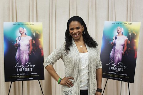 "Actress Audra McDonald poses for a photograph while promoting the play ""Lady Day at Emerson's Bar and Grill"" in New York March 17, 2014. REU"