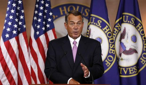 U.S. Speaker of the House John Boehner answers a question during his weekly news conference on Capitol Hill in Washington, March 26, 2014. R