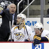 Nov 15, 2013; Pittsburgh, PA, USA; Nashville Predators head coach Barry Trotz (left) reacts on the bench against the Pittsburgh Penguins dur