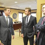 Florida's Senate President-designate Andy Gardiner, Republican of Orlando, talks with former England soccer player David Beckham (C) and Mar