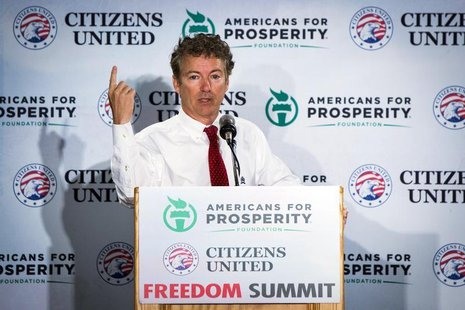 Senator Rand Paul (R-KY) speaks during the inaugural Freedom Summit meeting for conservative speakers in Manchester, New Hampshire April 12,