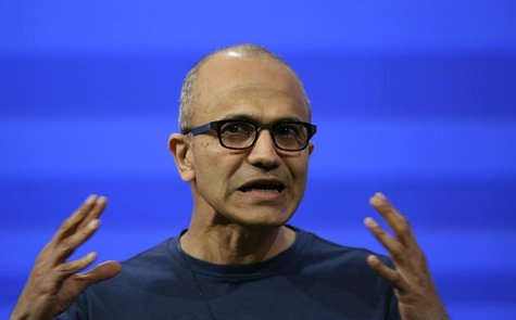 "Microsoft CEO Satya Nadella gestures as he speaks during his keynote address at the company's ""build"" conference in San Francisco, Californi"