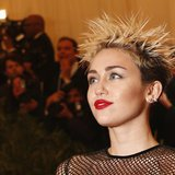 "Singer and actress Miley Cyrus arrives at the Metropolitan Museum of Art Costume Institute Benefit celebrating the opening of ""PUNK: Chaos t"