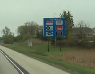 A blue freeway sign on a Wisconsin highway. (Photo from: YouTube)