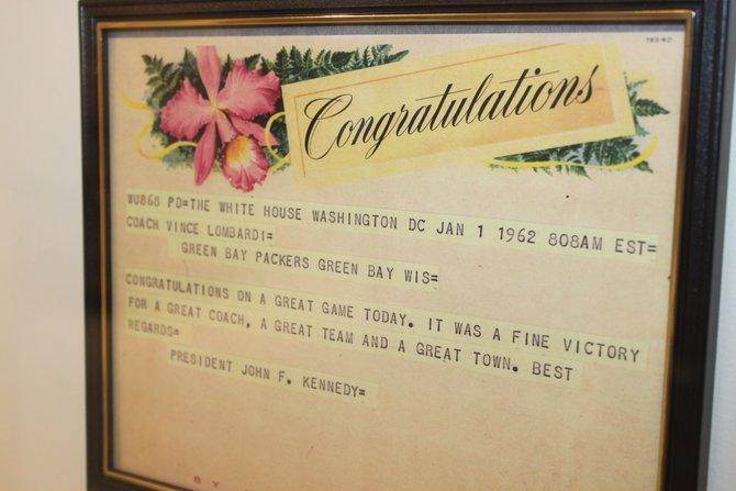 Telegram from JFK to Vince Lombardi