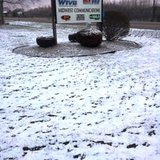 Snow outside the WTVB studios on April 15, 2014