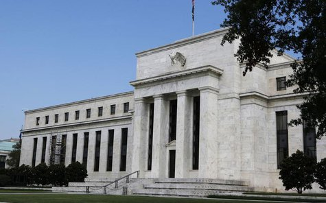 A view shows the Federal Reserve building on the day it is scheduled to release minutes of the Federal Open Market Committee from August 1,