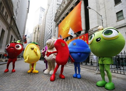 "Mascots dressed as characters from the mobile video game ""Candy Crush Saga"" pose outside the New York Stock Exchange ahead of the IPO of Mob"