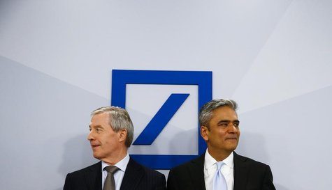 Anshu Jain (R) and Juergen Fitschen, Co-CEOs of Deutsche Bank AG arrive for the bank's annual news conference in Frankfurt, January 29, 2014